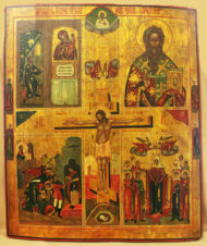Старинная икона «Распятие Иисуса Христа»