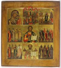 Старинная девятичастная икона «Богоматерь Казанская, Господь Вседержитель, Николай Чудотворец, Покров Пресвятой Богородицы, Всех скорбящих радость, Избранные святые»