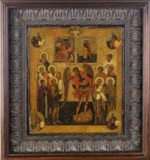 Старинная редкая икона «Михаил Архангел со святыми апостолами, евангелистами и святыми мучениками»