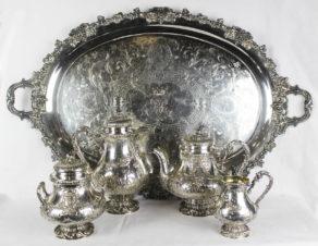 Серебряный чайно-кофейный сервиз с подносом в стиле Людовика XV
