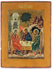 Старинная икона «Троица Ветхозаветная»