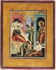 Старинная икона «Рождество Пресвятой Богородицы»