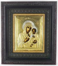 Старинная икона «Богоматерь Иверская» в серебряном окладе