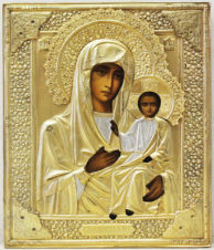 Старинная икона «Смоленская божья матерь» в серебряном окладе