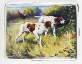 Антикварный портсигар «Пойнтеры на охоте»