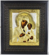 Старинная икона «Божья Матерь Тихвинская»