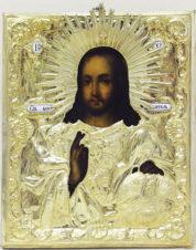 Старинная икона «Господь Вседержитель с державой и скипетром»