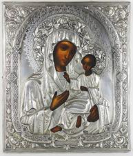 Старинная икона «Божья Матерь Тихвинская» в серебряном окладе