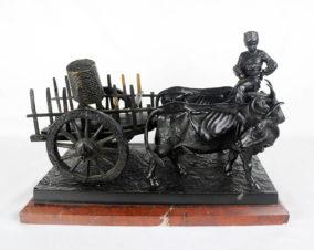 Бронзовая скульптура «Мальчик-грузин, погонщик волов, запряжённых в арбу»
