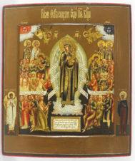 Старинная икона Божьей Матери «Всех скорбящих радость» с предстоящими мученицей Ириной и Ангелом-Хранителем