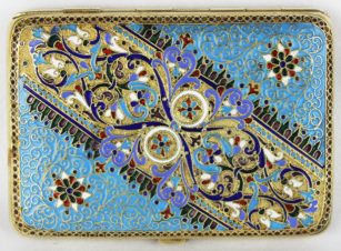 Старинный серебряный портсигар, украшенный перегородчатой эмалью