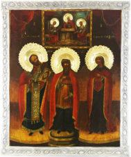 Старинная икона «Святая Троица, Святитель Христов Николай, пророк Захария и праведная Елизавета»