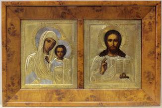 Венчальная пара иконы антикварные — «Господь Вседержитель» и Божья Матерь «Казанская»