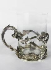 Антикварный серебряный подстаканник в стиле модерн