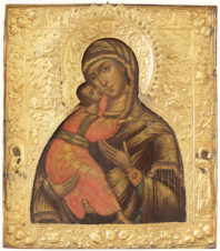 Старинная икона Божья Матерь «Владимирская»