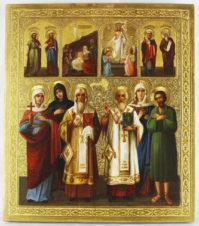 Старинная икона «Рождество Спасителя, Воскресение, святые Апостолы Петр и Павел, Наталья, Алексей Человек Божий, Параскева»