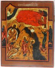 Старинная икона «Огненное восхождение Ильи пророка с предстоящими святыми»