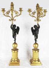 Парные бронзовые канделябры с амурами на 3 рожка