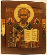 Старинная подписная икона «Святитель Николай Чудотворец»