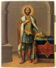 Старинная икона «Благоверный князь Александр Невский»