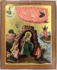 Старинная икона «Огненное восхождение Ильи пророка»