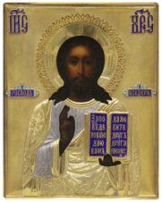 Старинная икона «Господь Вседержитель» в серебряном окладе с эмалью