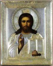 Старинная икона Господь Вседержитель (Пантократор) в серебряном окладе