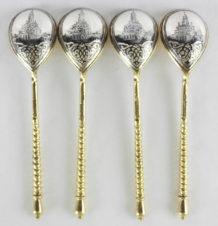 Набор из 4 серебряных ложек с чернью с изображением Сухаревой башни