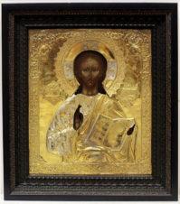 Большая старинная икона «Господь Вседержитель» в серебряном окладе