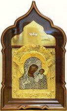 Антикварная икона «Божья Матерь Казанская» в серебряном окладе с жемчугом, сканью и драгоценными камнями