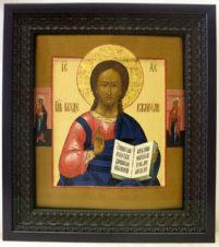 Большая старинная икона «Господь Вседержитель с предстоящими»