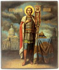 Старинная икона «Святой Благоверный князь Александр Невский»