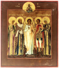 Старинная икона «Ангел Хранитель, Николай Чудотворец, Святая Татьяна, Святой Никита, Святая Стефанида»