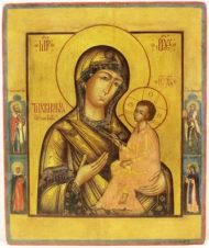 Старинная невьянская икона Божья Матерь «Тихвинская»
