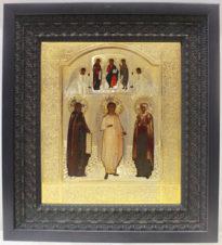 Антикварная икона «Святой Ангел Хранитель, преподобный Сергий Радонежский и святая Елизавета»
