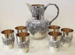 Набор для вина из 7 предметов с декором в виде виноградной лозы