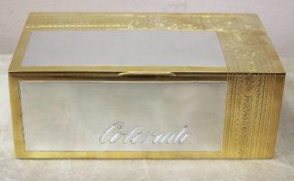 Старинная серебряная коробка для сигар с надписью «Табак привозный»