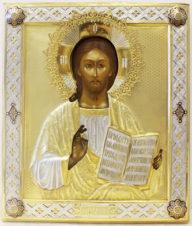 Антикварная икона Христа Спасителя в окладе с выемчатой эмалью