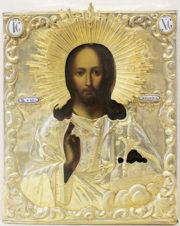 Антикварная икона «Господь Вседержитель со скипетром и державой»