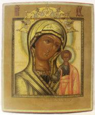 Старинная подписная икона «Богоматерь Казанская»