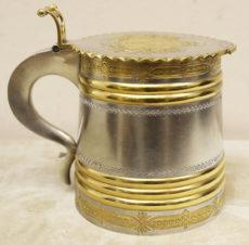 Серебряная пивная кружка в русском стиле