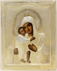 Старинная икона Богоматерь «Феодоровская (Федоровская)» в серебряном окладе