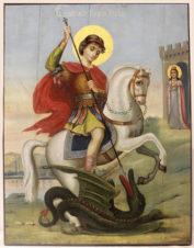 Старинная храмовая икона «Святой великомученик Георгий Победоносец и святая мученица Александра»