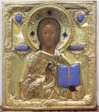 Антикварная икона «Господь Вседержитель» в окладе с эмалью