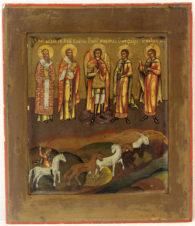 Старинная икона «Собор Архангела Михаила: мученики Флор и Лавр, святитель Модест, священномученик Власий»