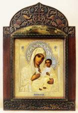 Старинная икона «Божья Матерь Иверская» в окладе с расписной эмалью