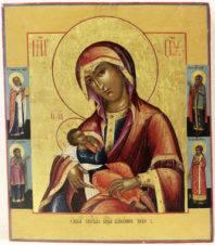 Редкая антикварная икона Божьей Матери «Блаженное чрево»