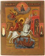 Старинная икона «Святой великомученик Георгий Победоносец»