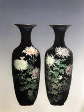 Большие антикварные парные вазы в технике клуазоне