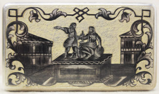 Табакерка с изображением памятника «Минину и Пожарскому» и Верхних Торговых рядов